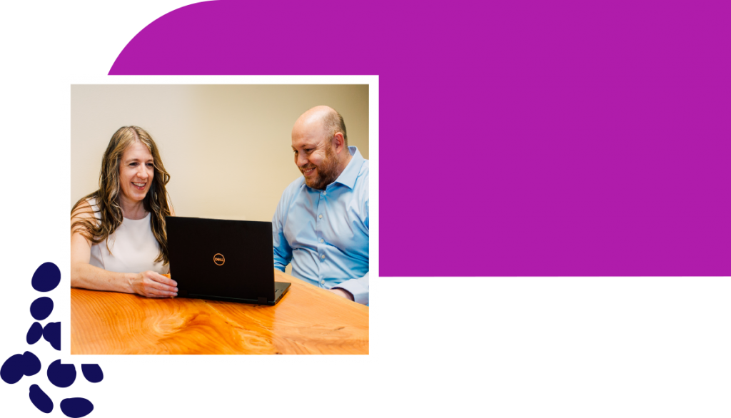 Innov8 CPAs - Wendy Wixson and-client-with-purple-bar